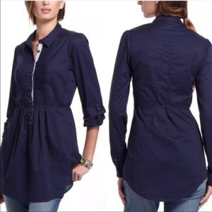 HD in Paris Anthropologie Blue Pleated Tunic Top